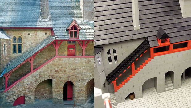 Lego model of Castell Coch compared with photo of castle