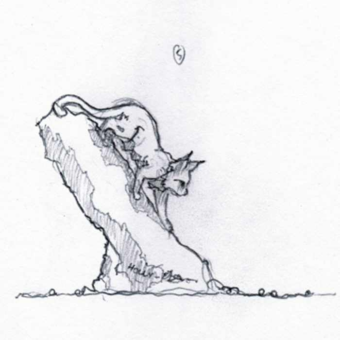 Drawing of lynx sculpture