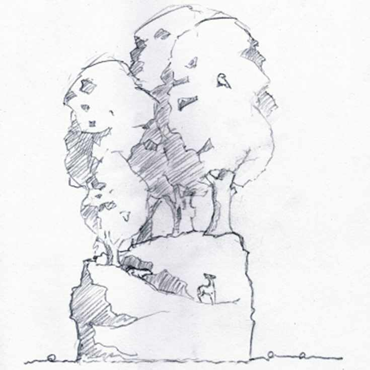 Drawing of tree sculpture