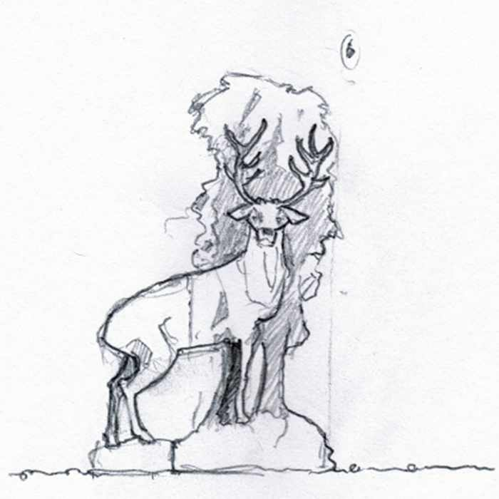Drawing of red deer sculpture