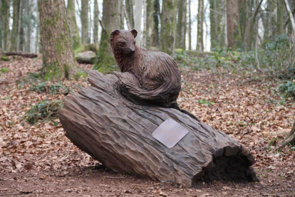 Wooden sculpture of pine marten