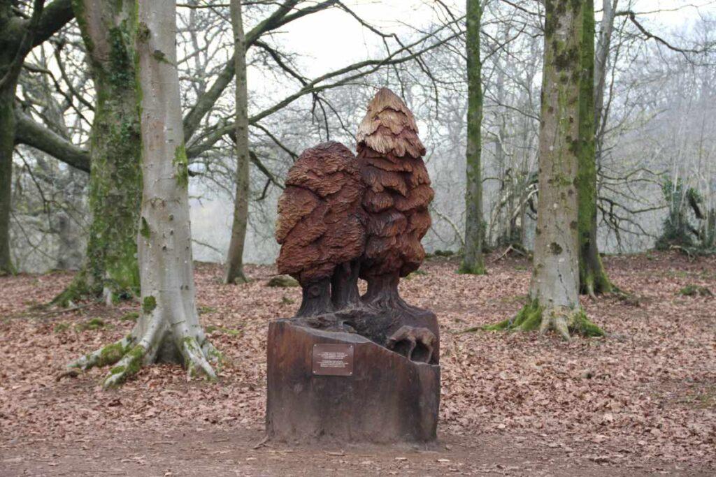 Wooden sculpture of trees