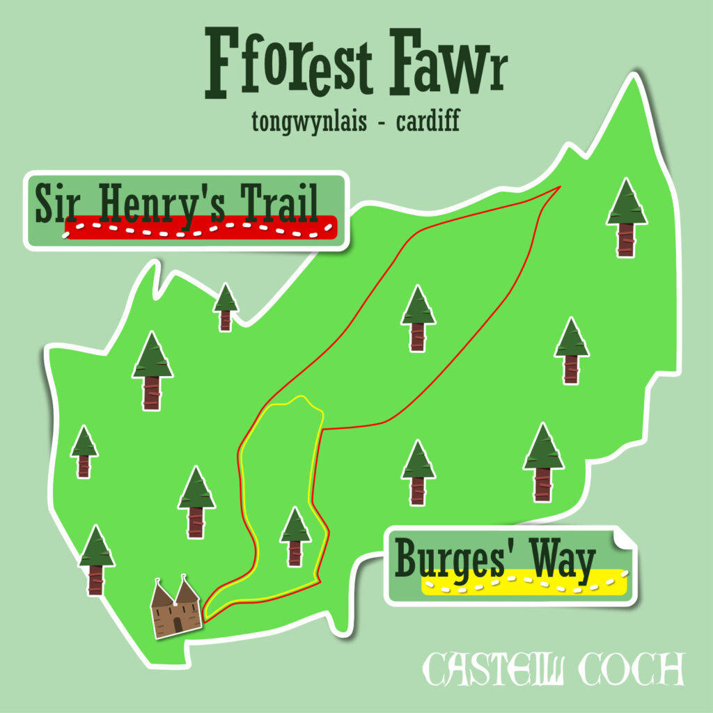 Illustrated map of Fforest Fawr