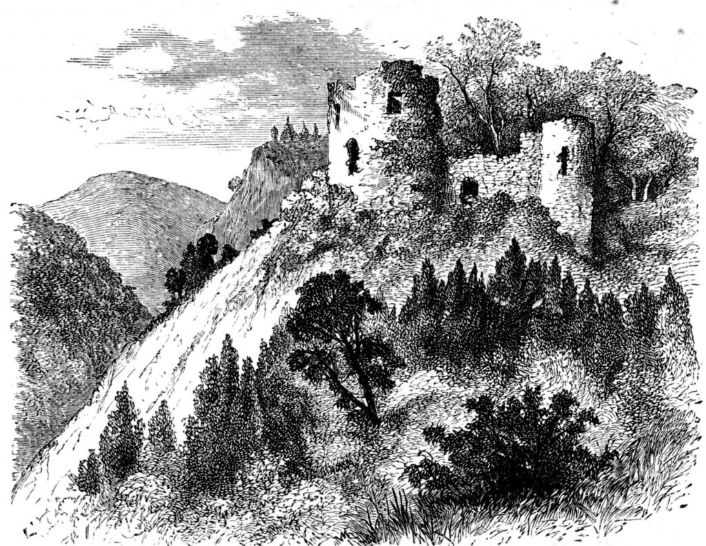 Ink sketch of Castell Coch from 1874