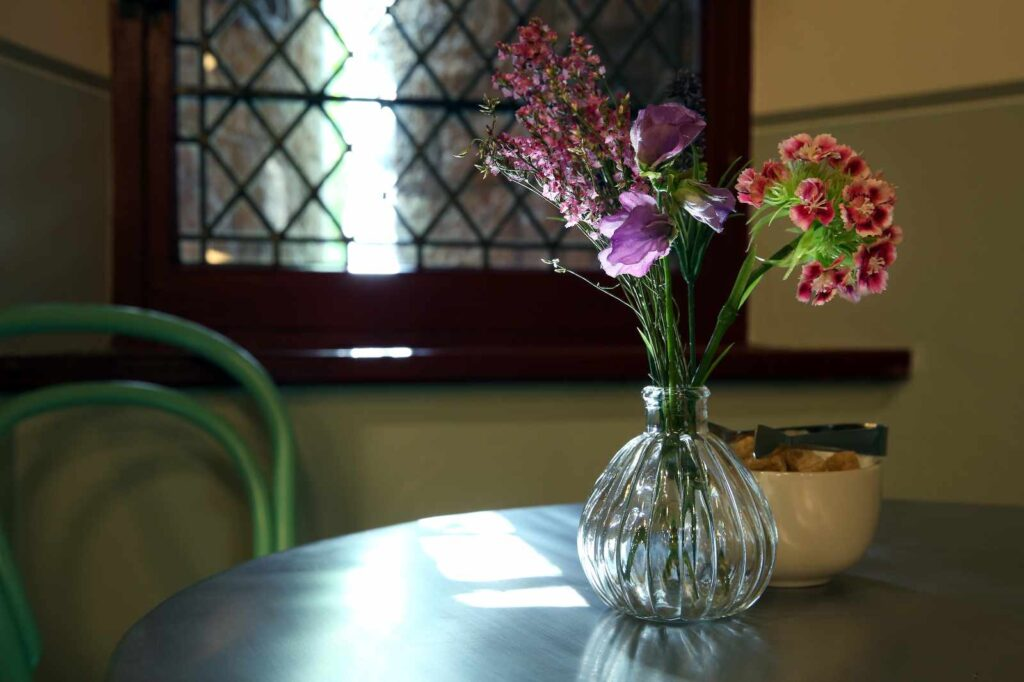 Vase on a table in the Castell Coch tea room