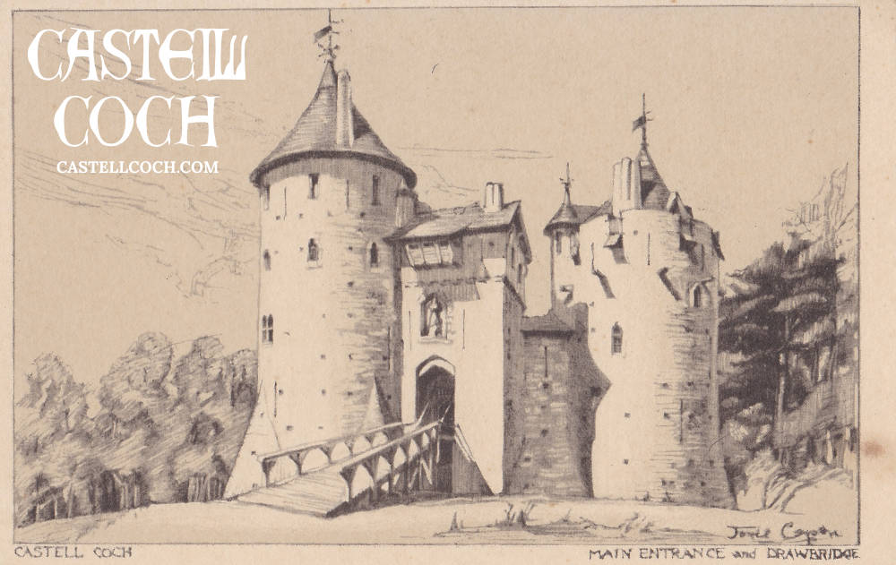 Postcard featuring pencil drawing of Castell Coch