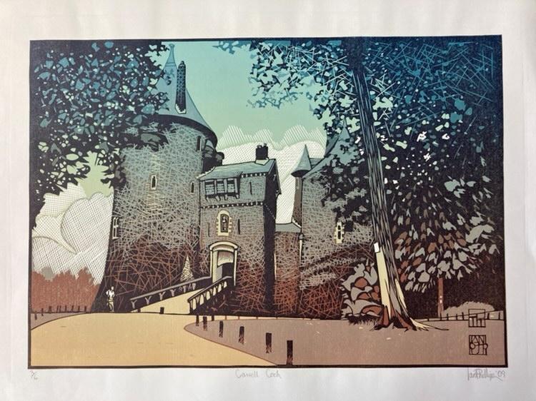 Linocut print of Castell Coch by Ian Phillips