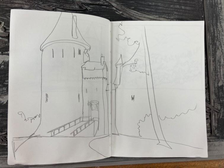 Sketch of Castell Coch by Ian Phillips