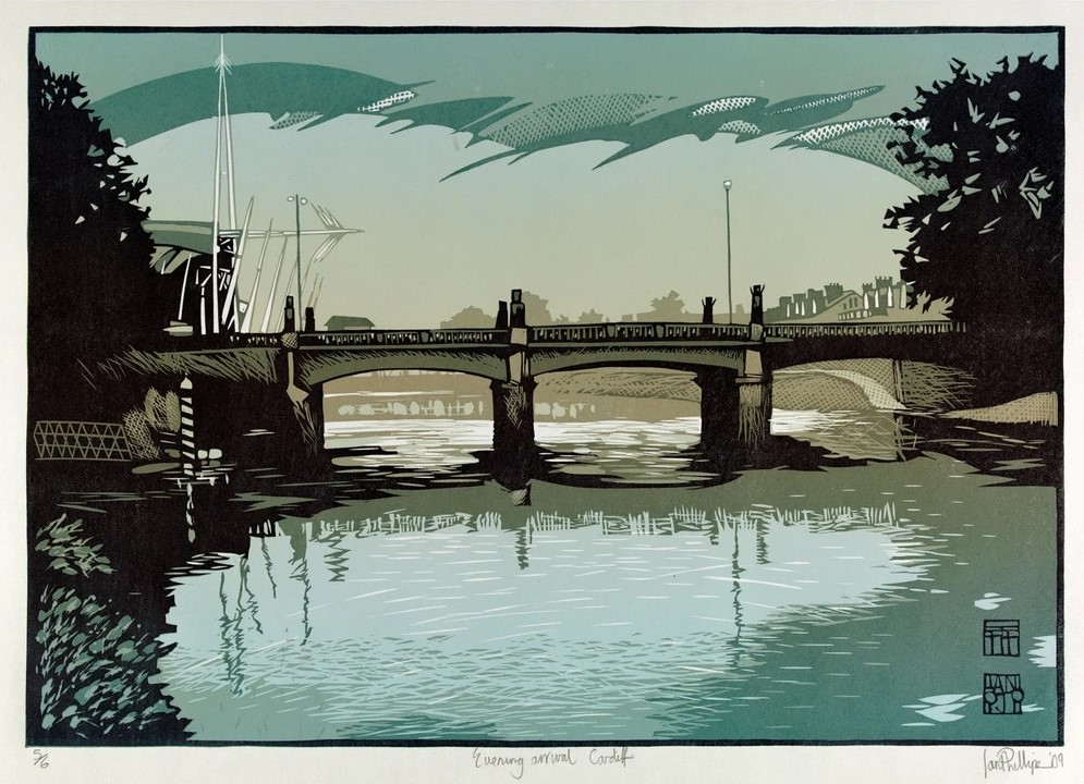 Linocut of Cardiff scene titled Evening Arrival by Ian Phillips