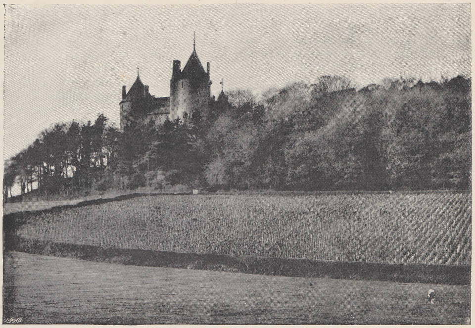Black and white photo of Castell Coch and vineyard