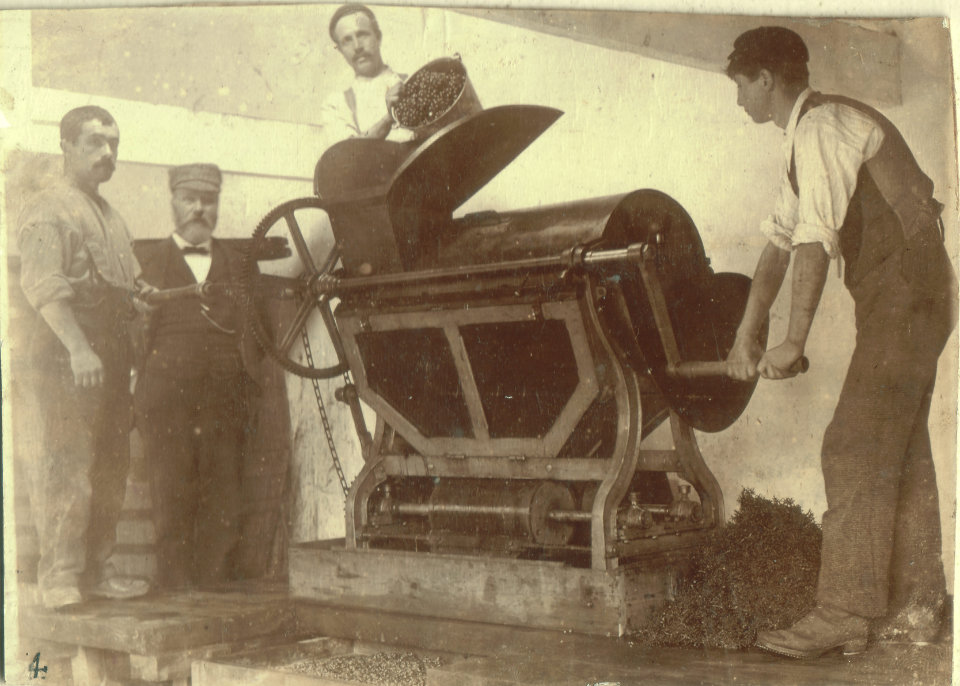 1897 photo of a wine pressing machine with Andrew Pettigrew and three other men.