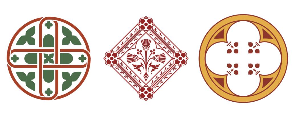 Three illustrations of patterns in Castell Coch