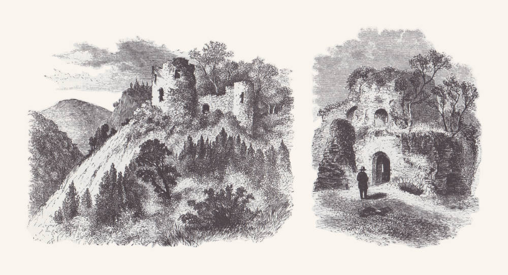 Illustrations of Castell Coch by EM Wimperis