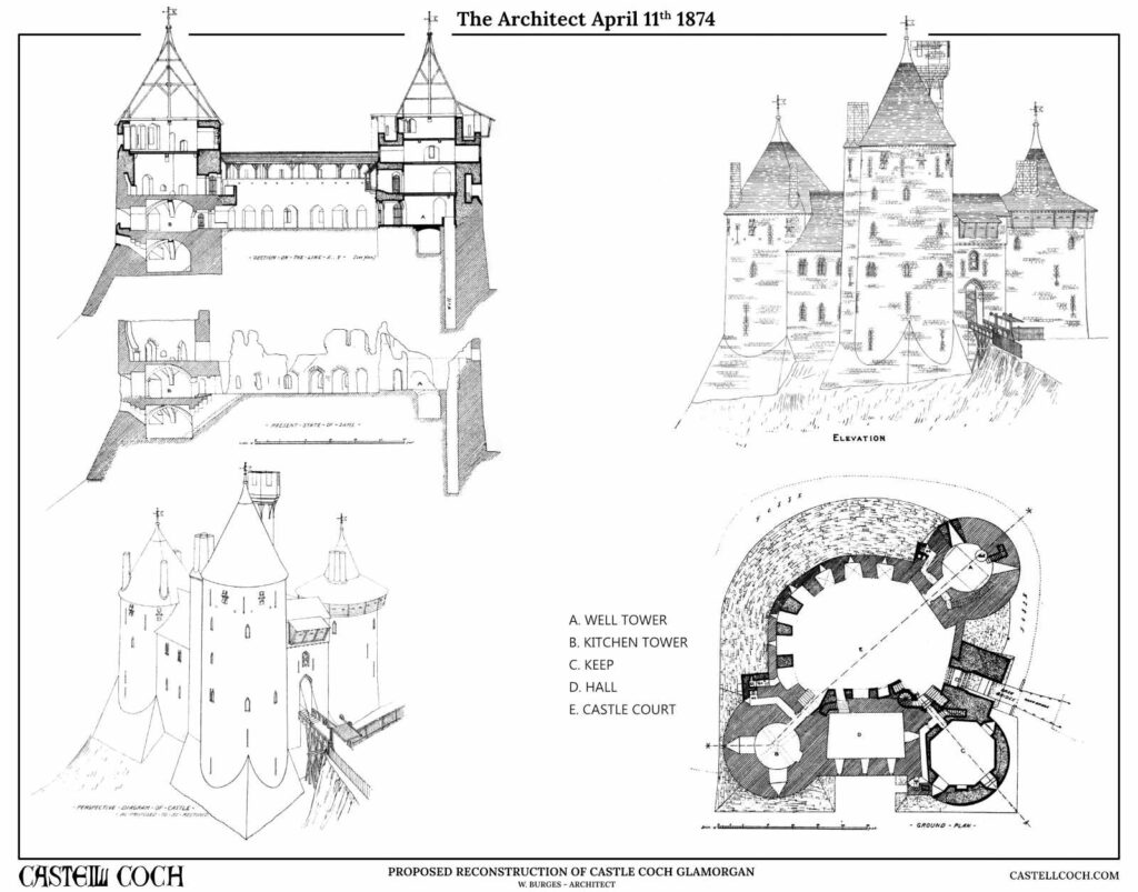 Four illustrations of Castell Coch
